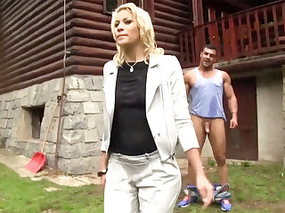 Hardcore outdoors sex with a half-naked Euro hottie