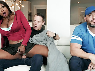 Ebony stepmom having it away her stepson