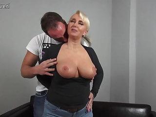 Sexy heavy breasted German mom fucking adolescents