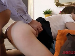 Naughty girl with really appetizing flocculent ass gets bent over and fucked doggy