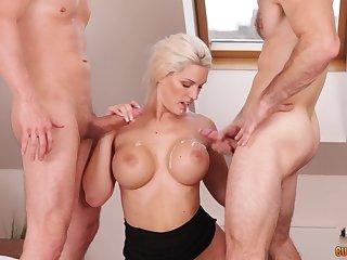 Blonde MILF Blanche Bradburry cum sprayed by two guys