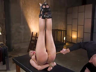 Short haired submissive blonde MILF Ryan Keely tied up and abused