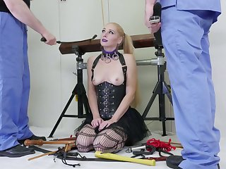 Locked in wooden victualling obedient comme ci whore gets analfucked doggy hard
