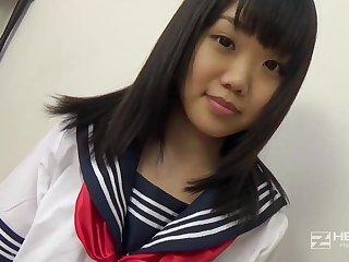 Asian honey, Natsuno Himawari is debilitating her college uniform while getting fragmented plus fellating prick