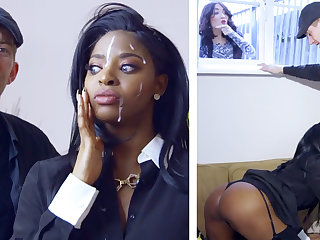 Sex-crazed ebony realtor gets railed by a big-dicked white boy