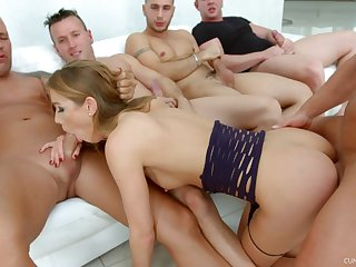 Hardcore party bang and a mouth full of cum for slutty Alexis Crystal