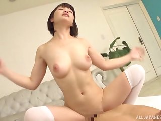 Busty Japanese coddle Hinagiku Tsubasa gets a handful of cocks and she loves crimson