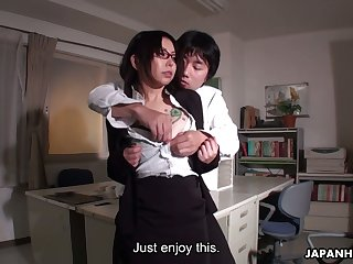 Horny boss fucks Japanese secretary Minami Kitagawa on the trustees