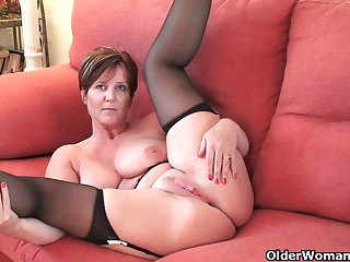 British milf Ecstasy exposing her chunky tits and hot fanny