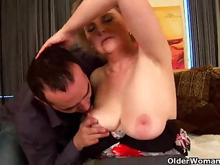 Granny with big tits and hairy pussy rides weasel words