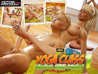 Big hooters lesbian futa beauties having yoga tantric lovemaking