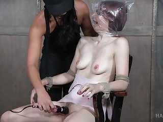 Violet Monroe pledged on the chair and abused by blooper London Brooklet