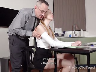Titless stale student lures tutor and gets poked from behind up settle great