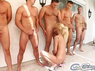 5 cocks cum on young beauteous face after oral gangbang orgy