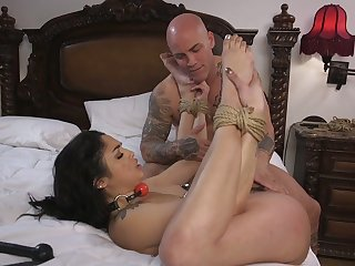 Emotional tattooed slut with pinned nipples Vanessa Sky is fucked hard