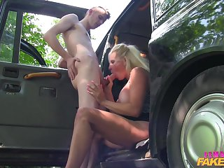 Anorectic boy fucked blonde MILF Michelle Thorne by the car