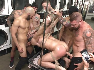 Gay orgy at an obstacle laundromat set to repeal upon a profitability