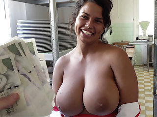 Hot cook about huge tits stodgy to sex for money
