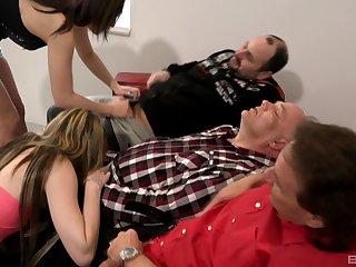 Old men enjoying young broads sucking their dicks on cam