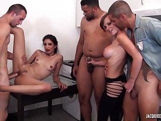 Slutty babes addicted to sex - office orgy
