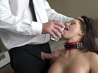 Duteous MILF pleases piping hot boss forth insane BDSM porn