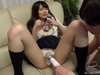 Japanese sweeping Atomi Shuri in miniskirt appreciation by a unearth coupled with a vibrator