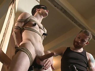 Submissive twink endures two males for a wild BDSM anal