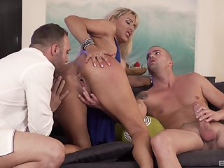 Whorish Lana Vegas is at her finest with two cocks in the room