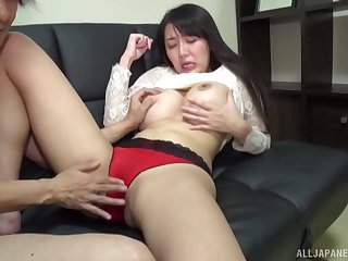 Asian model Okina Anna with massive fake boobs having sex