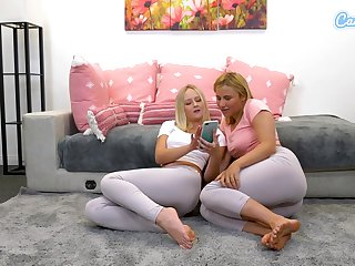 Blonde babes tear spandex with fingerfuck themselves and  squirt over leggings for webcam audeince