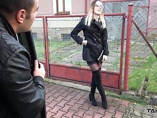 Slender blonde chick Samantha picked up and fucked from behind
