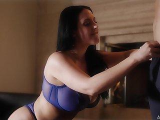 Talkative quite buxom MILF Abigail Mac flashes their way boobies in sexy bra