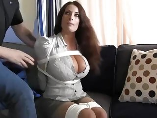 Buxomy housewife gets immensely crazy when she gets corded concerning and left on the floor