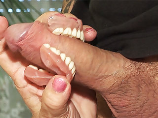 toothless blowbang with 74 years superannuated mom