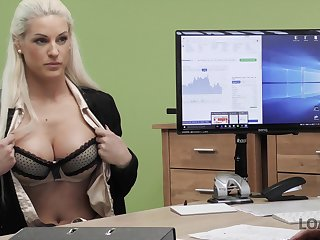 What a piece of baggage won't do to get a job coupled with that babe is one busty mating addict