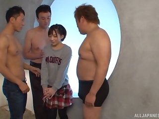 Stunning Japanese widely applicable Urumi Narumi fucked by three horny dudes