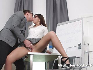 Dull but sexy looking college girl Lanna feels great shagging doggy with tutor