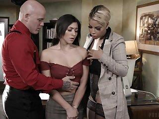 Bosomy headmistress Bridgette B and dirty crammer Derrick turtle-dove naughty student Brooklyn Gray