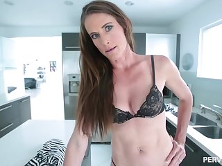 Skinny brunette toddler with a navel piercing, Sofie Marie is bog down to get a huge cock