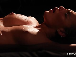 Vanessa Decker is sweating while riding her lovers hard dick in the middle of citrusy