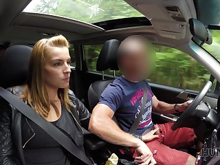 Lucky man gets his dick jerked off to the fullest driving and then he gets so much more