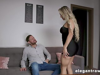 Bad and curvy blonde sexpot Mia Linz gets both holes fucked doggy hard