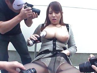 Busty Japanese neonate Mishima Natsuko gets pleasured by couple of guys
