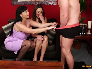 Addictive CFNM threesome yon a hot mature and her stepdaughter