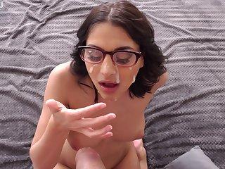 Nerdy chick creams glasses enquire into POV BJ