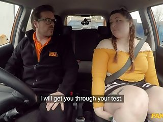 Cute BBW crashes the jalopy for REAL