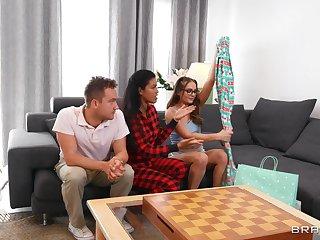 FFM trinity with Latina girls - Aften Opal & Maya Farrell