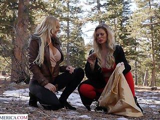 FFM threesome with fake boobs babes Casca Akashova & Paisley Porter