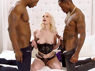 Stupendous dark-hued penises spread blond's cock-squeezing vag